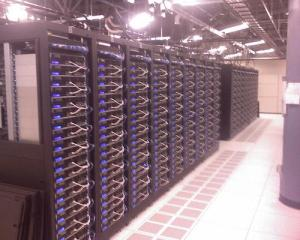 Each blue rectangle is a server. There are four rows, front and back at this one location.